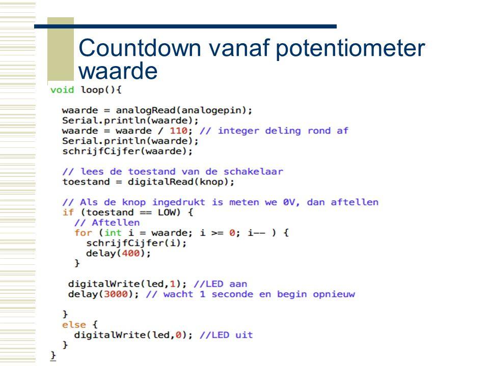 Countdown vanaf potentiometer waarde
