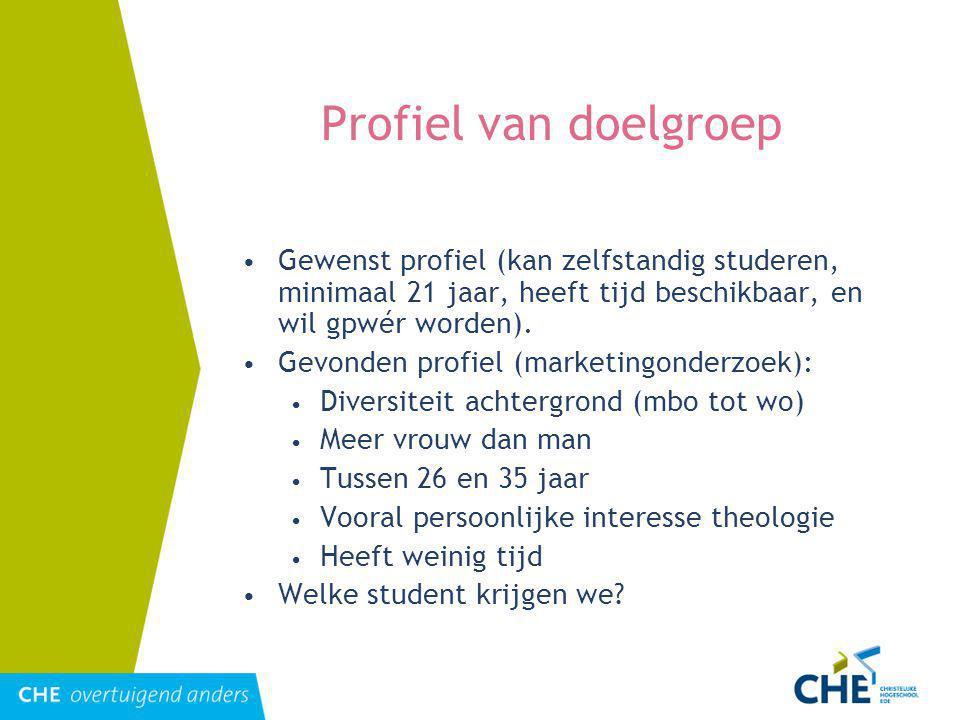 Profiel van doelgroep Gewenst profiel (kan zelfstandig studeren, minimaal 21 jaar, heeft tijd beschikbaar, en wil gpwér worden).