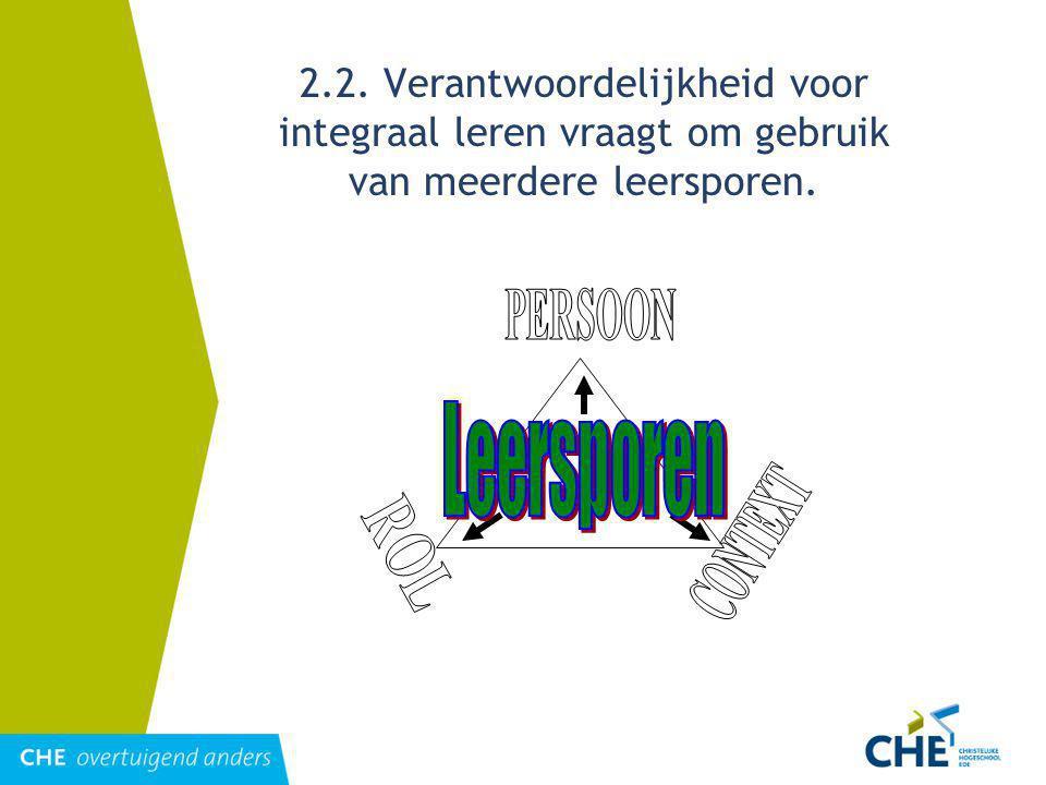 2.2. Verantwoordelijkheid voor integraal leren vraagt om gebruik van meerdere leersporen.