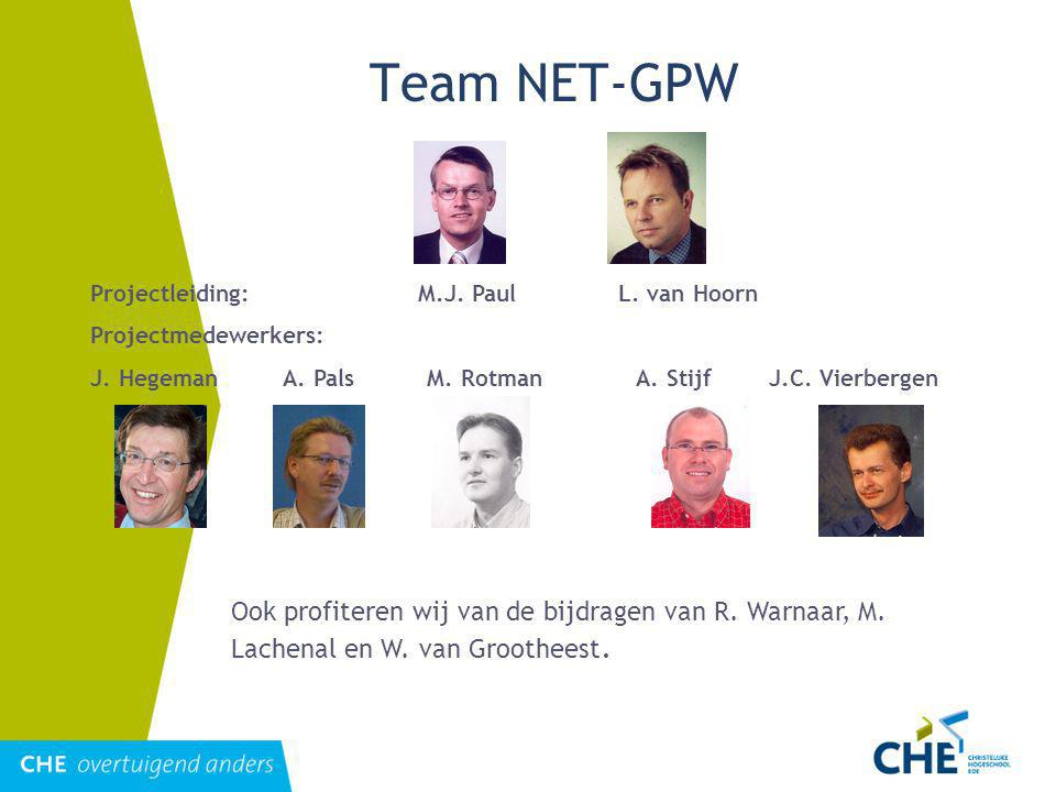Team NET-GPW Projectleiding: M.J. Paul L. van Hoorn. Projectmedewerkers: