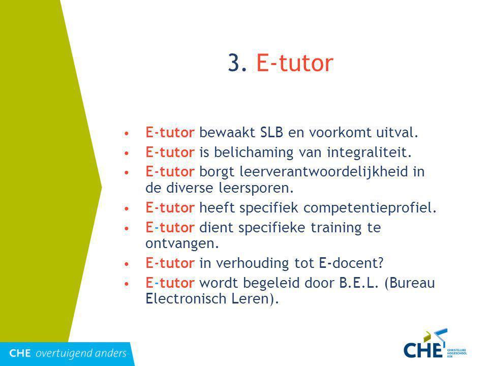 3. E-tutor E-tutor bewaakt SLB en voorkomt uitval.