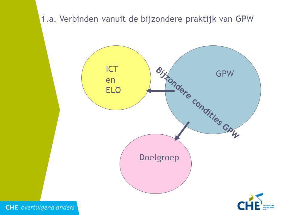 1.a. Verbinden vanuit de bijzondere praktijk van GPW