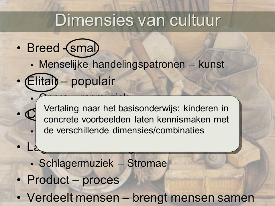 Dimensies van cultuur Breed - smal Elitair – populair