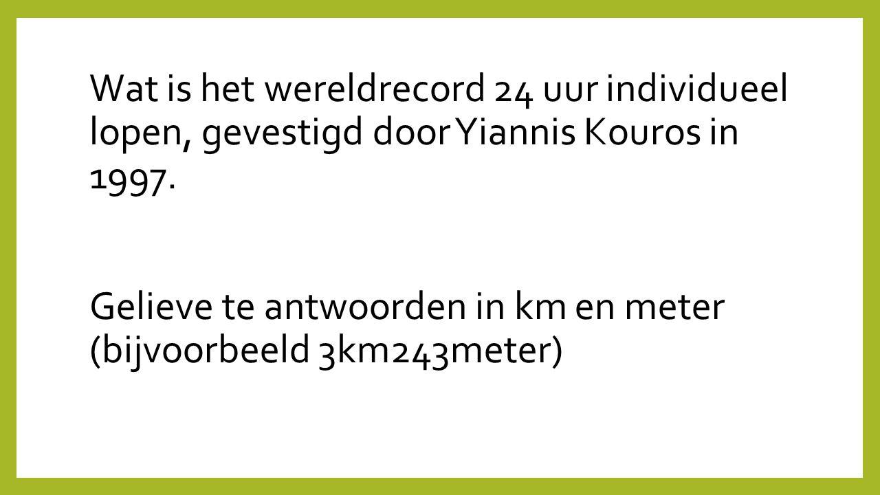 Wat is het wereldrecord 24 uur individueel lopen, gevestigd door Yiannis Kouros in 1997.