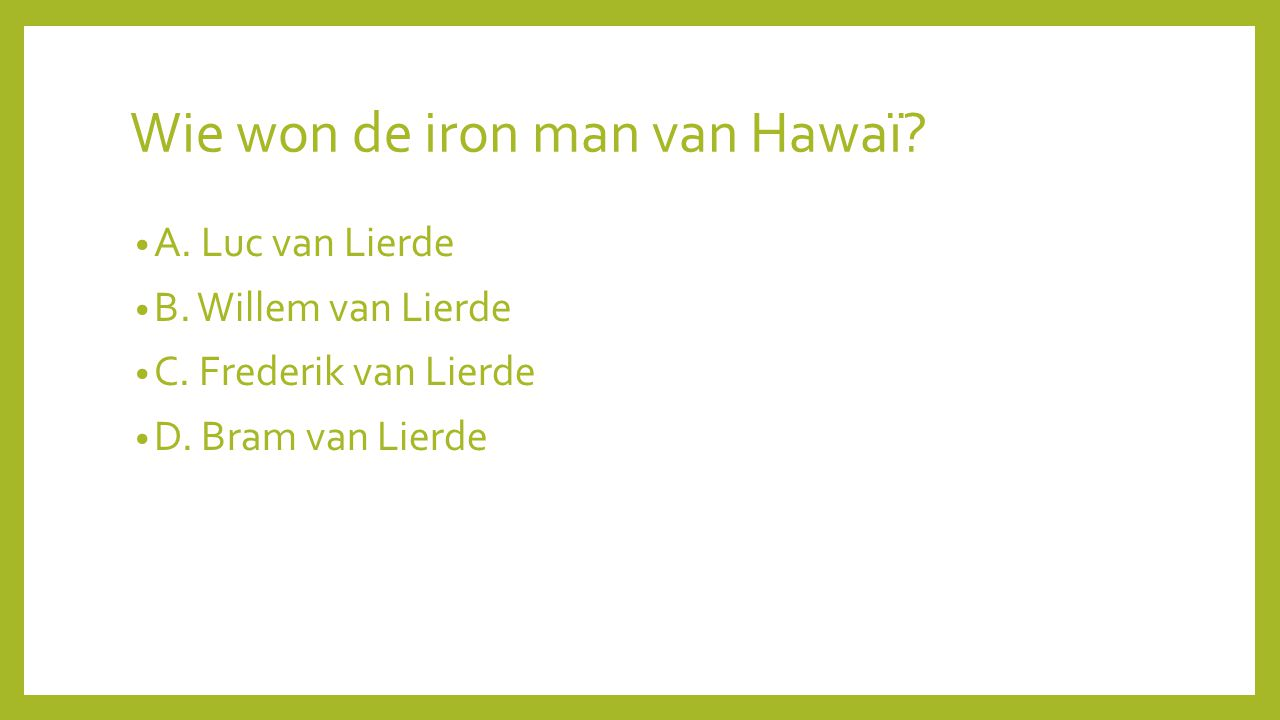 Wie won de iron man van Hawaï