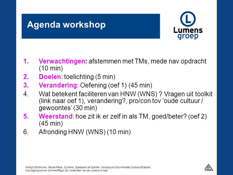 Agenda workshop Verwachtingen: afstemmen met TMs, mede nav opdracht (10 min) Doelen: toelichting (5 min)