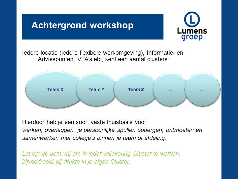 Achtergrond workshop Iedere locatie (iedere flexibele werkomgeving), Informatie- en Adviespunten, VTA's etc, kent een aantal clusters: