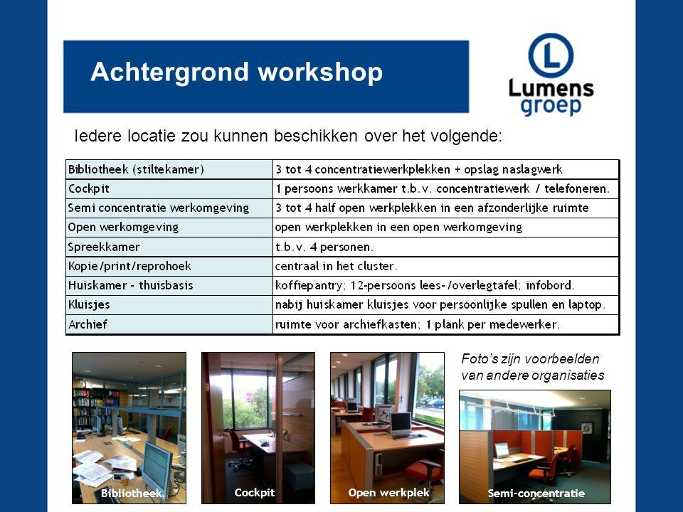 Achtergrond workshop Iedere locatie zou kunnen beschikken over het volgende: Foto's zijn voorbeelden.