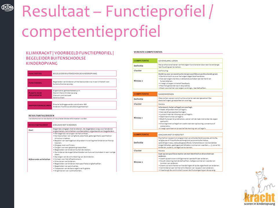Resultaat – Functieprofiel / competentieprofiel