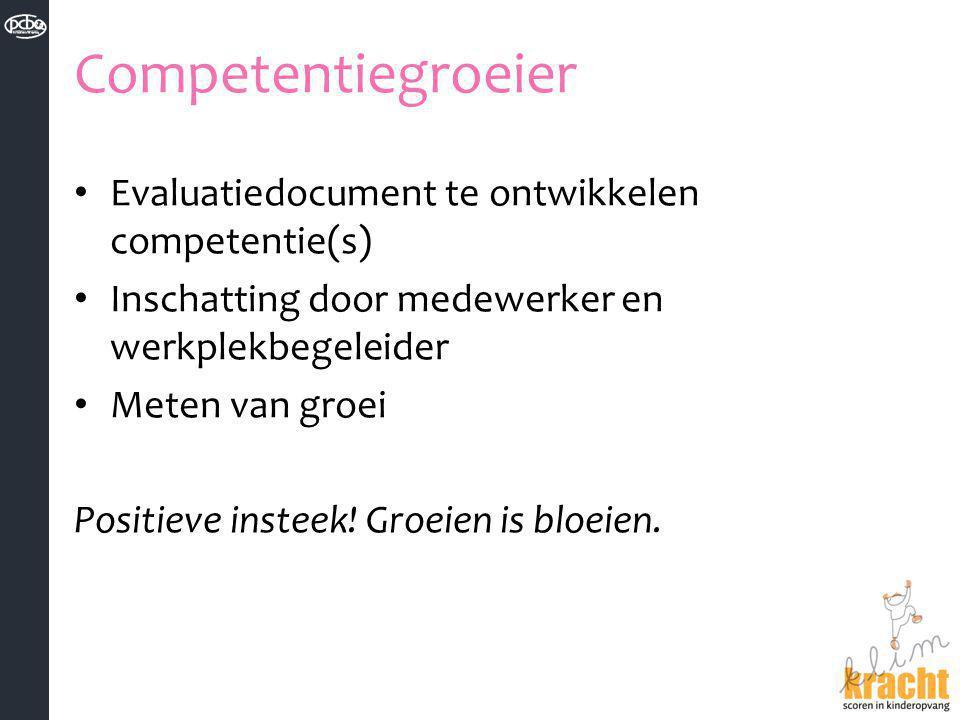 Competentiegroeier Evaluatiedocument te ontwikkelen competentie(s)