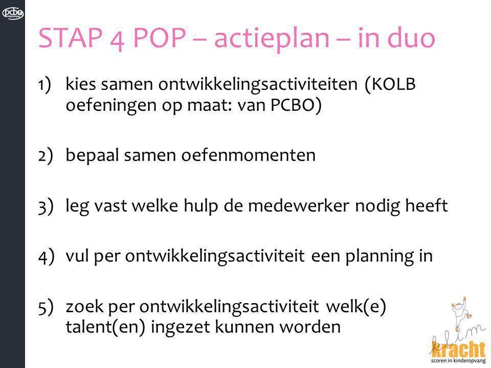 STAP 4 POP – actieplan – in duo