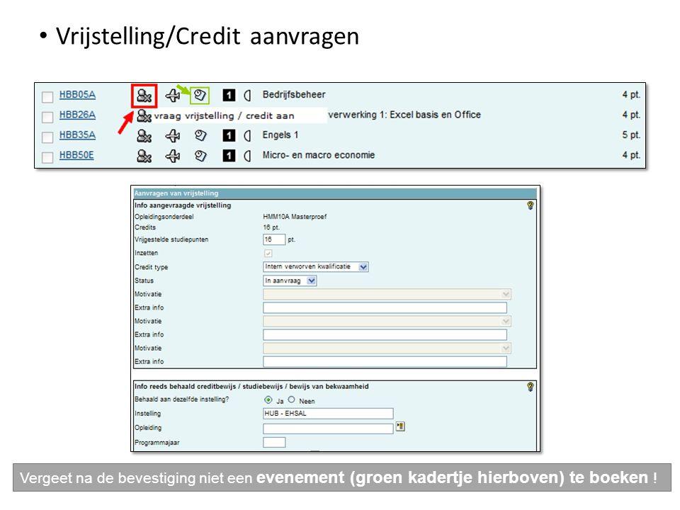 Vrijstelling/Credit aanvragen