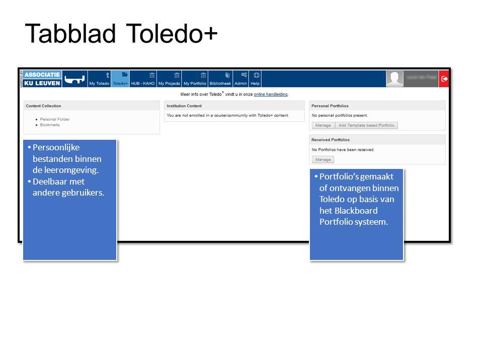 Tabblad Toledo+ Persoonlijke bestanden binnen de leeromgeving.
