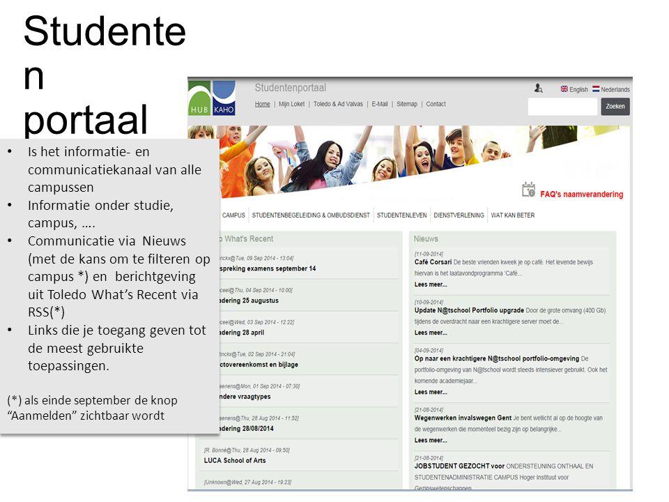 Studenten portaal Is het informatie- en communicatiekanaal van alle campussen. Informatie onder studie, campus, ….