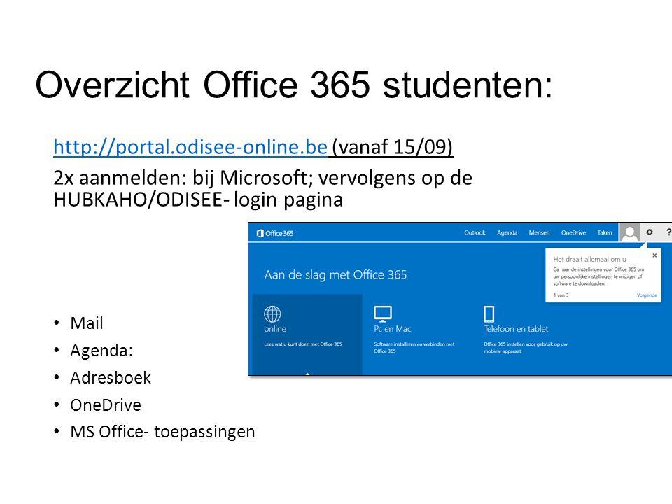 Overzicht Office 365 studenten: