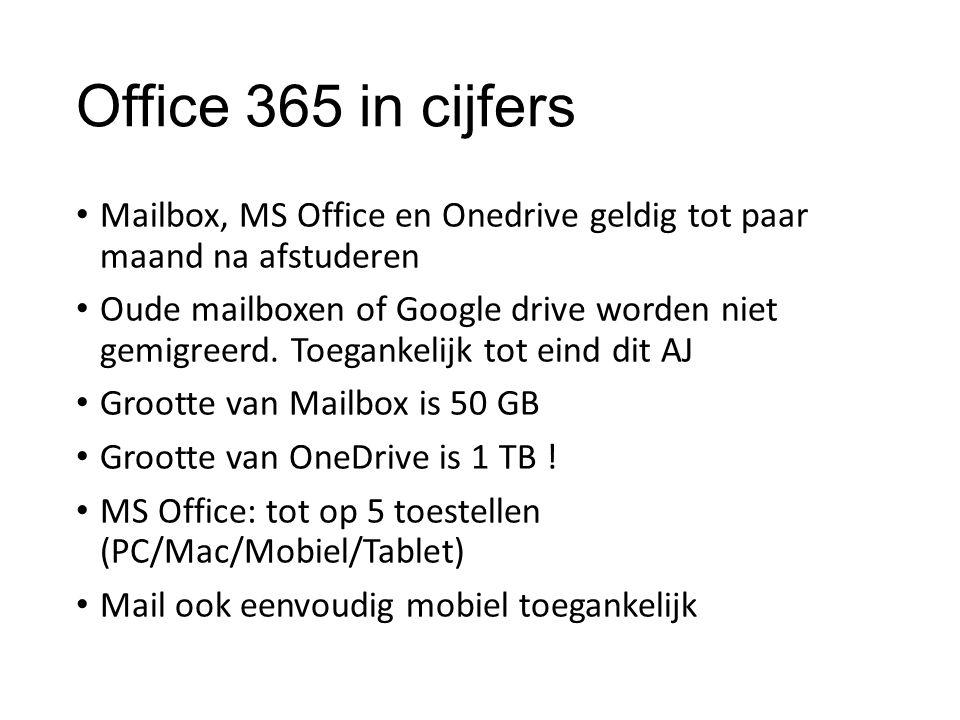 Office 365 in cijfers Mailbox, MS Office en Onedrive geldig tot paar maand na afstuderen.
