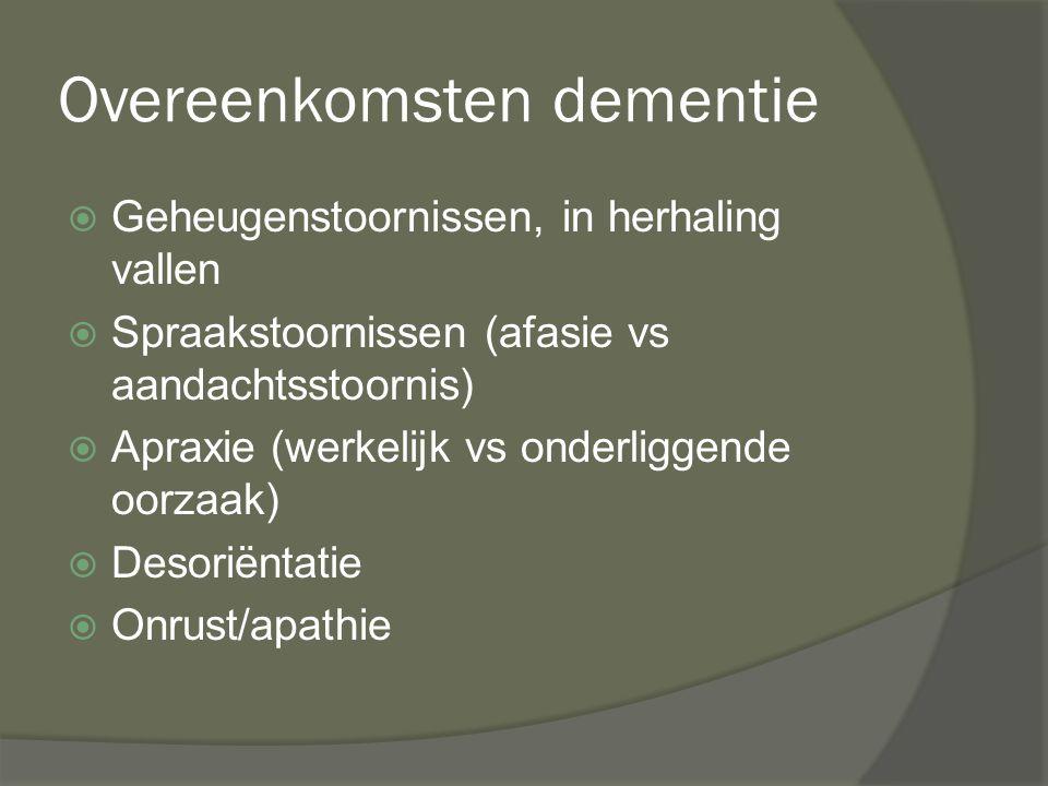 Overeenkomsten dementie