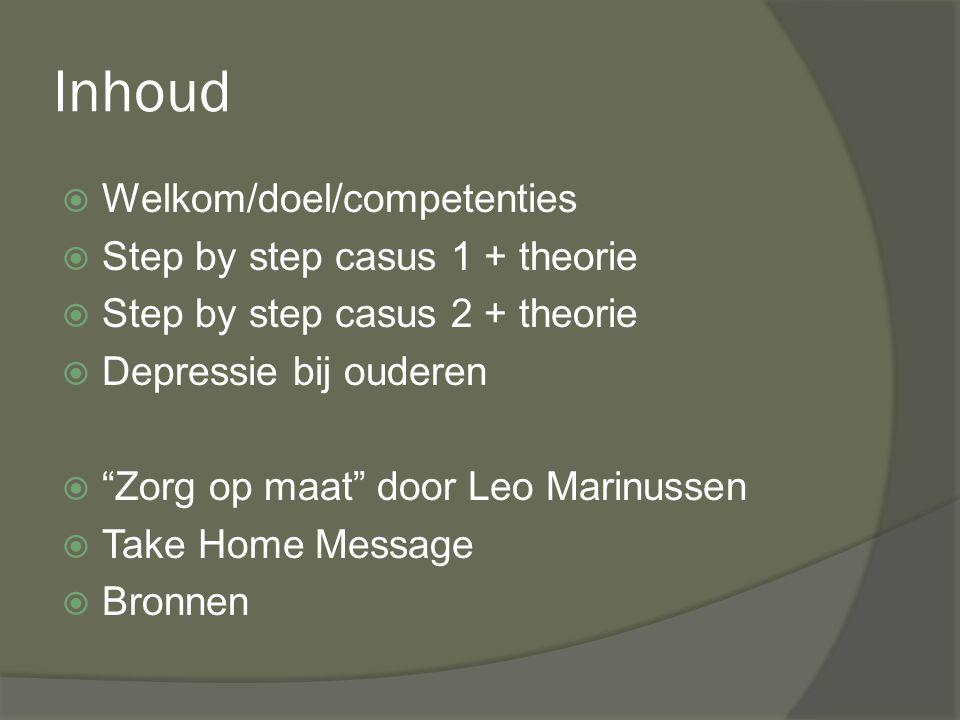 Inhoud Welkom/doel/competenties Step by step casus 1 + theorie