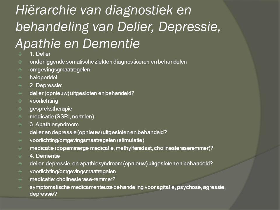 Hiërarchie van diagnostiek en behandeling van Delier, Depressie, Apathie en Dementie