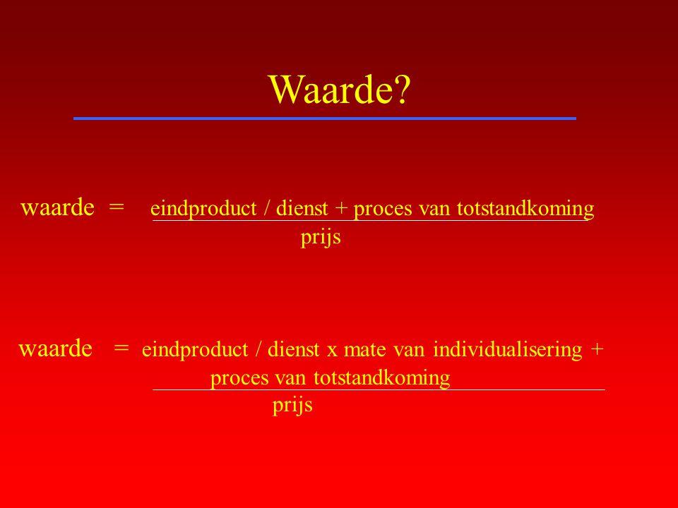 Waarde waarde = eindproduct / dienst + proces van totstandkoming