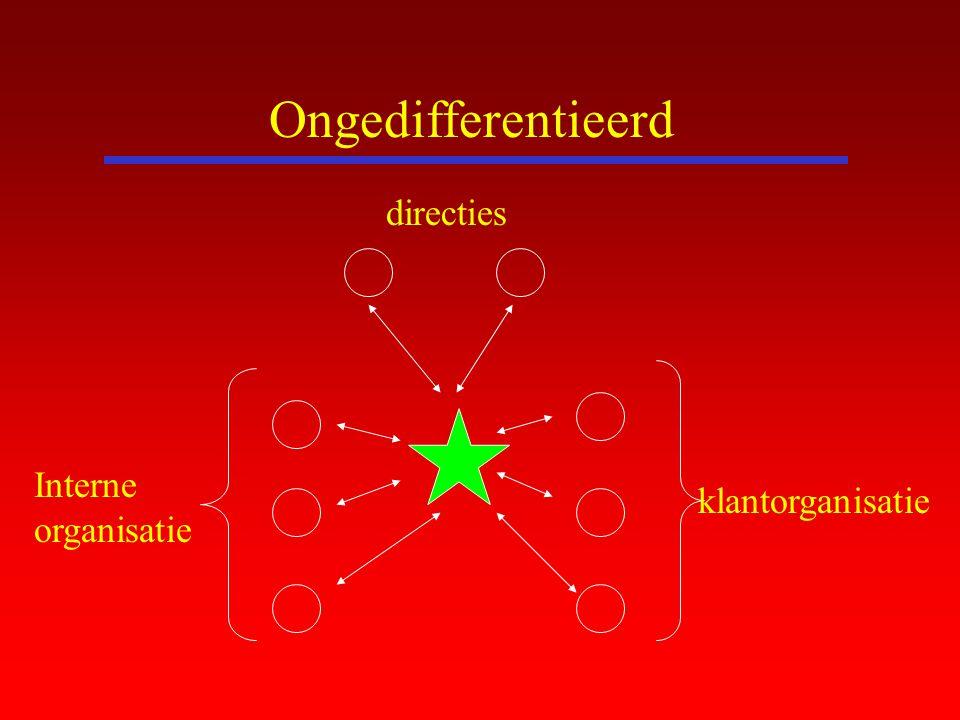 Ongedifferentieerd directies Interne organisatie klantorganisatie