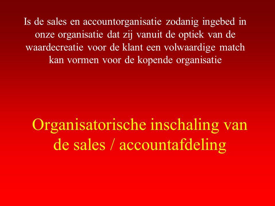 Organisatorische inschaling van de sales / accountafdeling