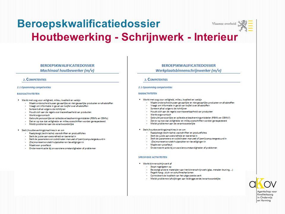 Beroepskwalificatiedossier Houtbewerking - Schrijnwerk - Interieur