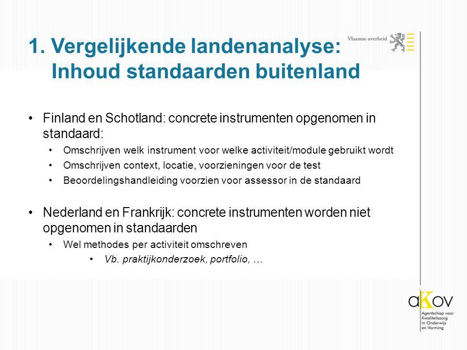 1. Vergelijkende landenanalyse: Inhoud standaarden buitenland