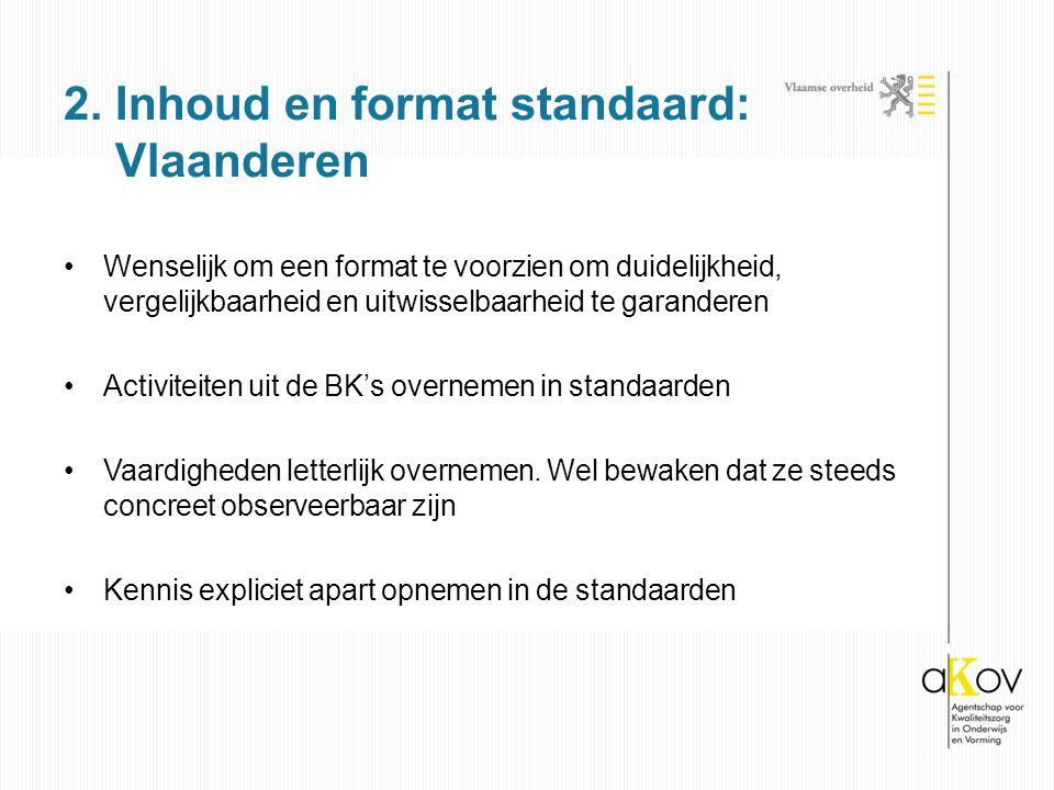 2. Inhoud en format standaard: Vlaanderen