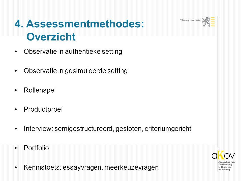 4. Assessmentmethodes: Overzicht