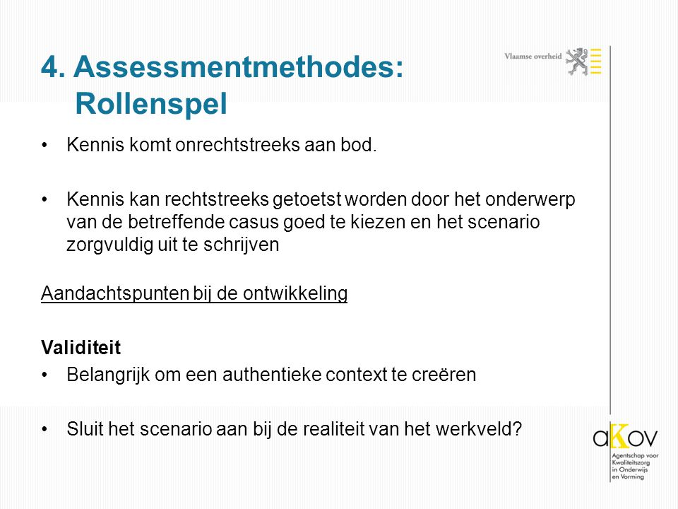 4. Assessmentmethodes: Rollenspel