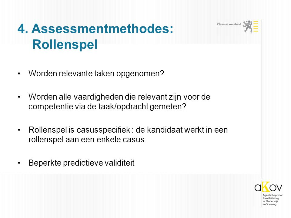 4. Assessmentmethodes: Rollenspel