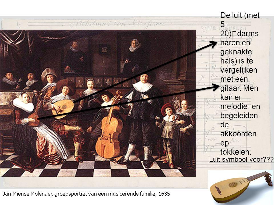 De luit (met 5-20) darmsnaren en geknakte hals) is te vergelijken met een gitaar. Men kan er melodie- en begeleidende akkoorden op tokkelen.