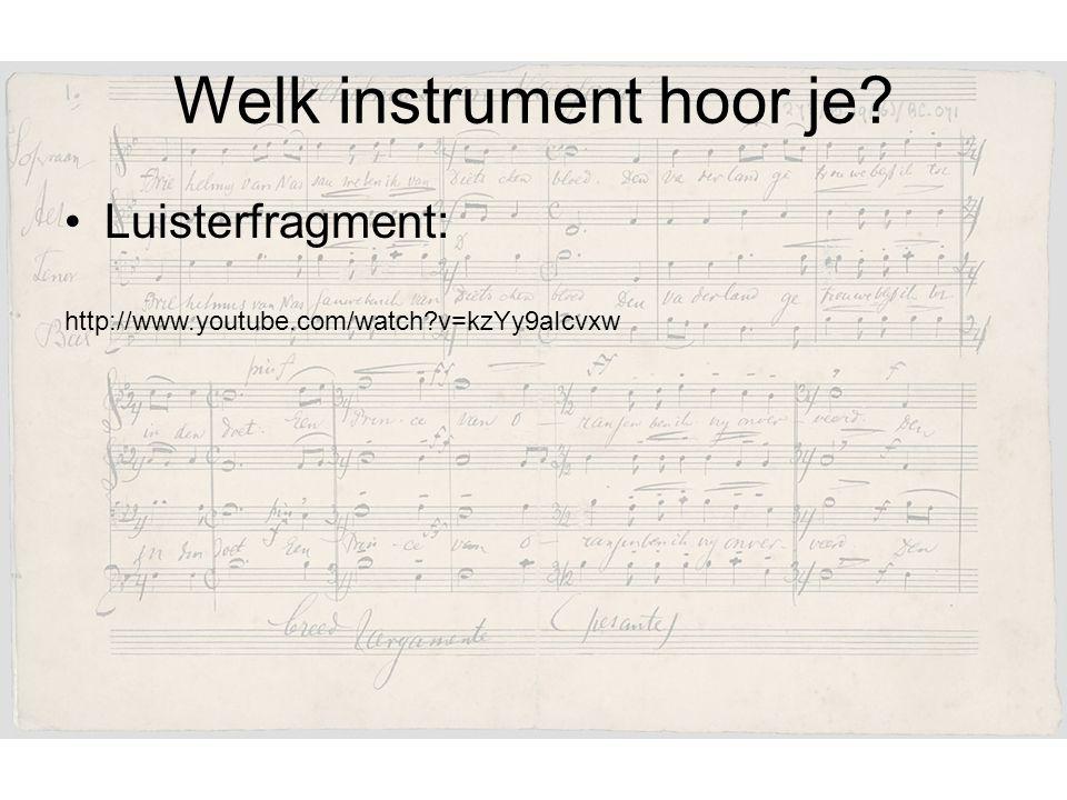 Welk instrument hoor je