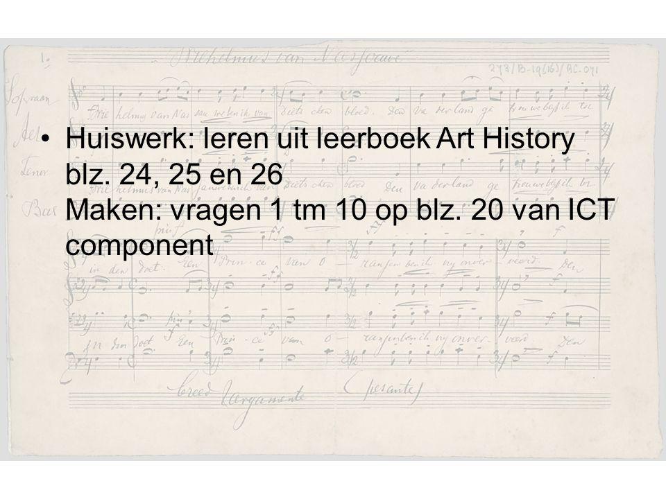Huiswerk: leren uit leerboek Art History blz