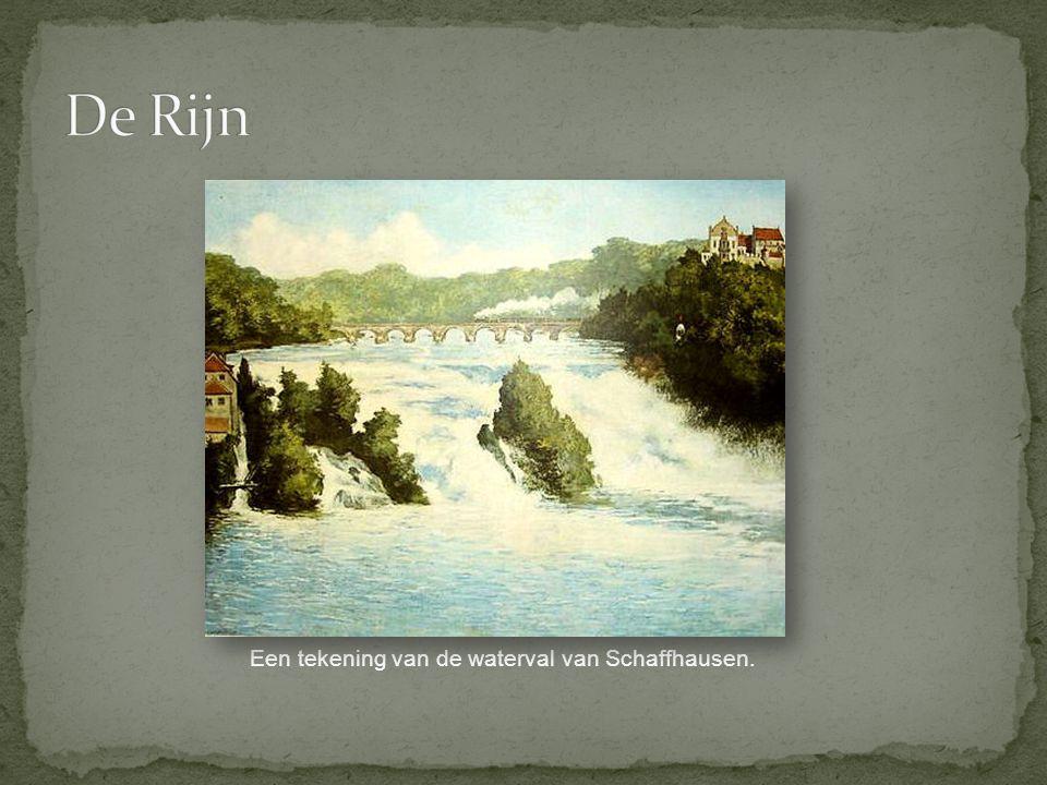 Een tekening van de waterval van Schaffhausen.