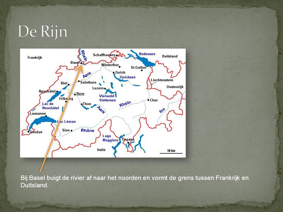 De Rijn Bij Basel buigt de rivier af naar het noorden en vormt de grens tussen Frankrijk en Duitsland.