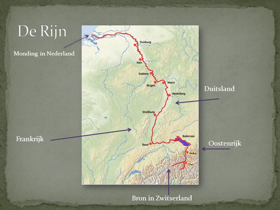 De Rijn Duitsland Frankrijk Oostenrijk Bron in Zwitserland