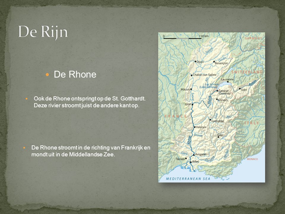 De Rijn De Rhone. Ook de Rhone ontspringt op de St. Gotthardt. Deze rivier stroomt juist de andere kant op.