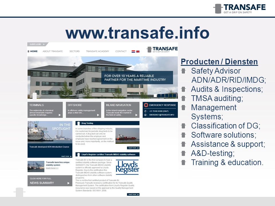 www.transafe.info Producten / Diensten Safety Advisor