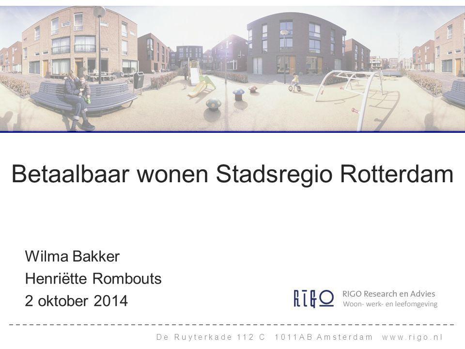 Betaalbaar wonen Stadsregio Rotterdam