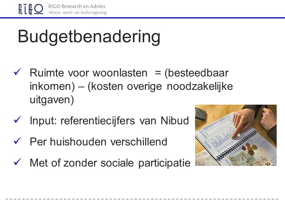 Budgetbenadering Ruimte voor woonlasten = (besteedbaar inkomen) – (kosten overige noodzakelijke uitgaven)