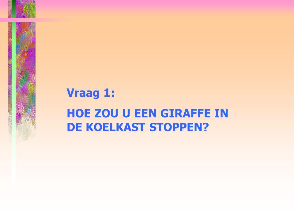 Vraag 1: HOE ZOU U EEN GIRAFFE IN DE KOELKAST STOPPEN
