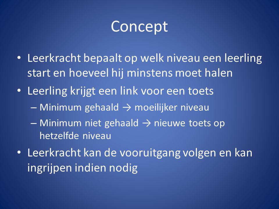 Concept Leerkracht bepaalt op welk niveau een leerling start en hoeveel hij minstens moet halen. Leerling krijgt een link voor een toets.