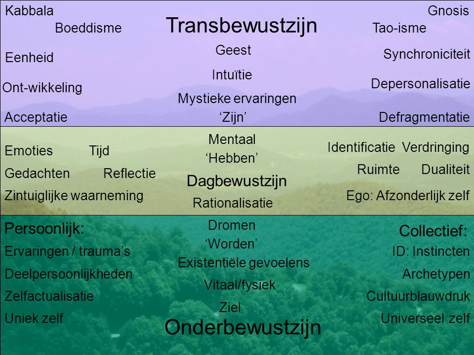 Transbewustzijn Persoonlijk: Onderbewustzijn Dagbewustzijn Collectief: