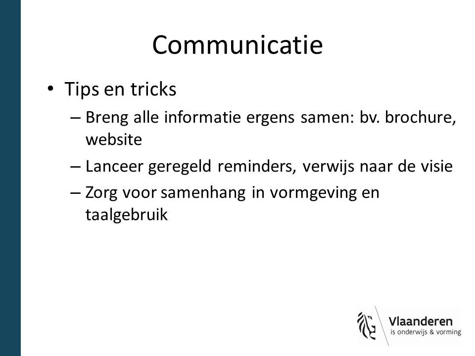 Communicatie Tips en tricks