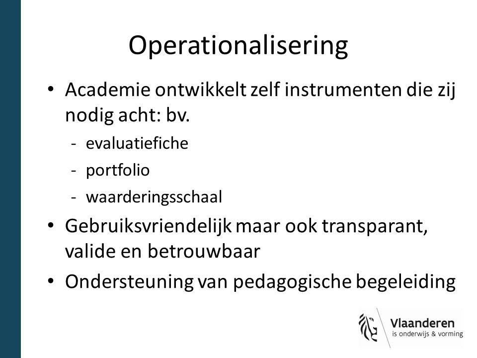 Operationalisering Academie ontwikkelt zelf instrumenten die zij nodig acht: bv. evaluatiefiche. portfolio.
