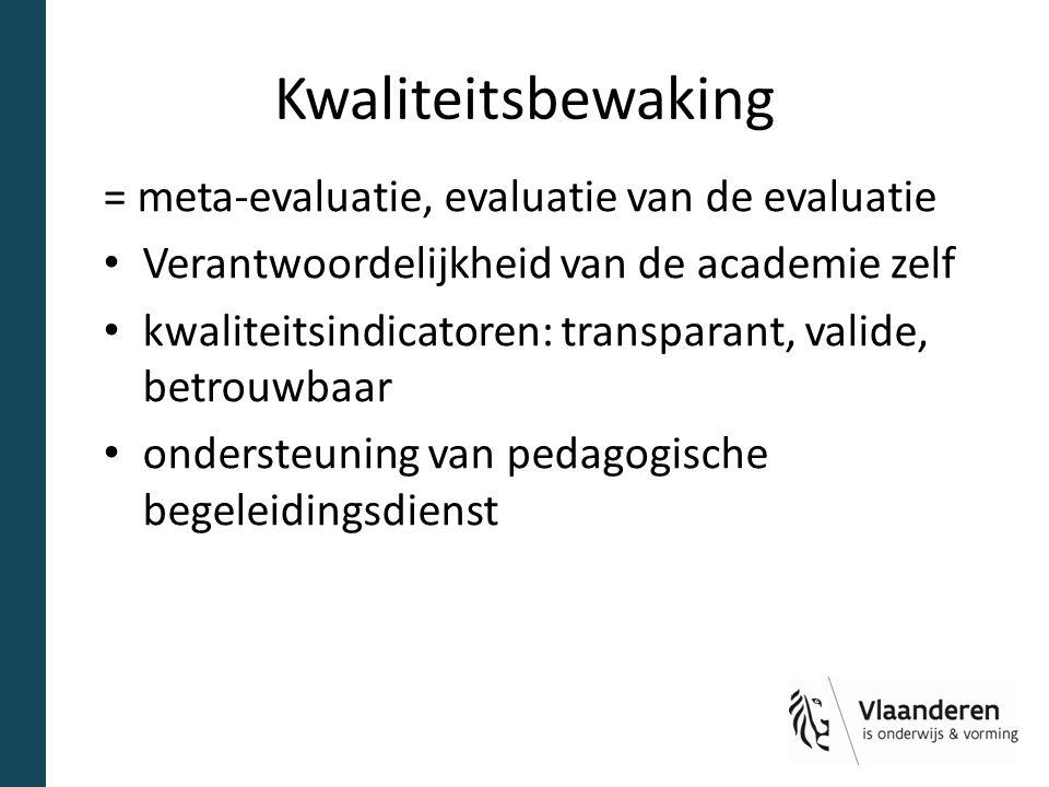 Kwaliteitsbewaking = meta-evaluatie, evaluatie van de evaluatie