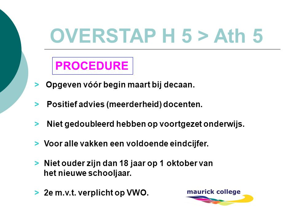 OVERSTAP H 5 > Ath 5 PROCEDURE