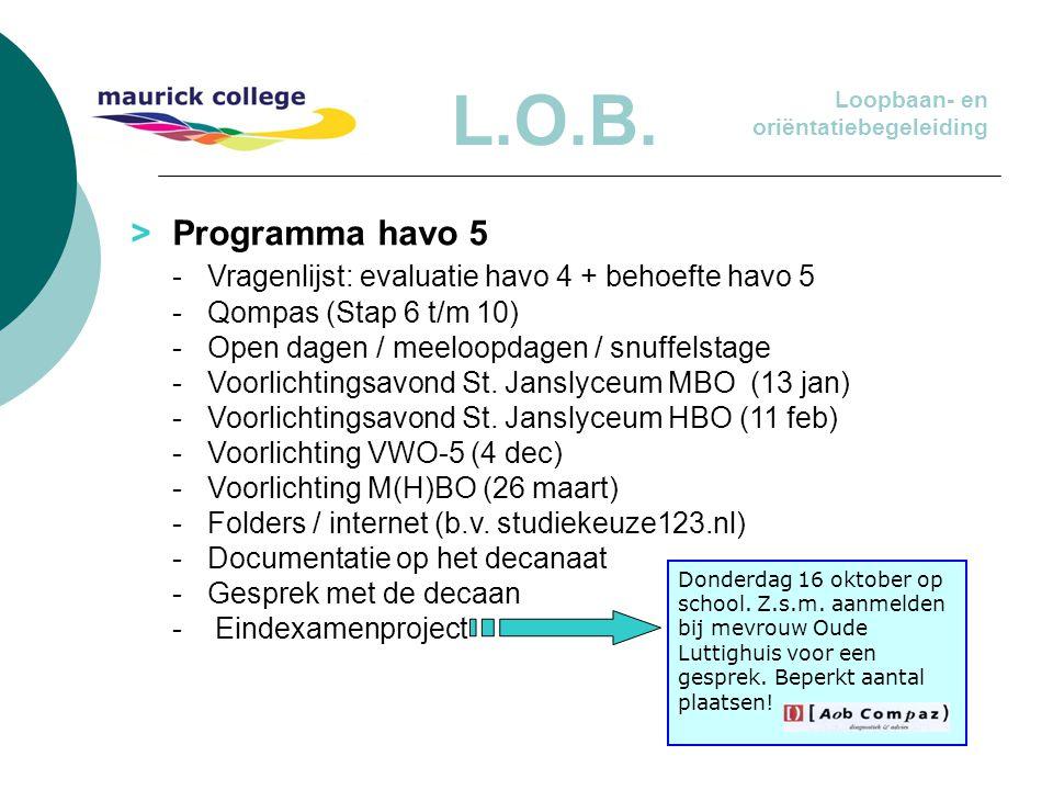 L.O.B. > Programma havo 5